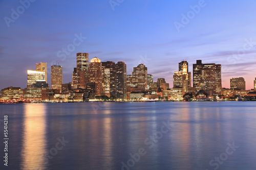 Boston skyline and Inner Harbor at dusk, USA