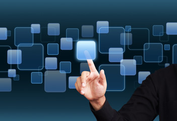 Businessman hand working with digital virtaul screen