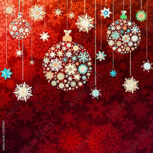 Red christmas vector illustration. EPS 10