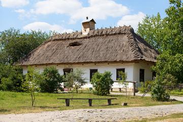Wooden houses taken in park in Pirogovo museum, Kiev, Ukraine