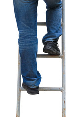 man climbing ladder,Isolated
