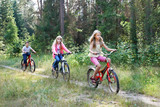 Children riding bikes in the woods