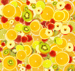 Lots citrus slices close-up background