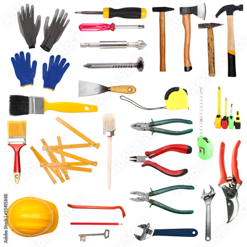 Many different tools  for construction and home isolated