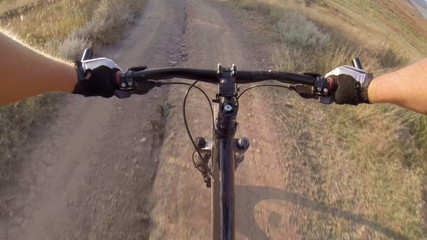 Onboard camera: Cyclist riding mountain bike