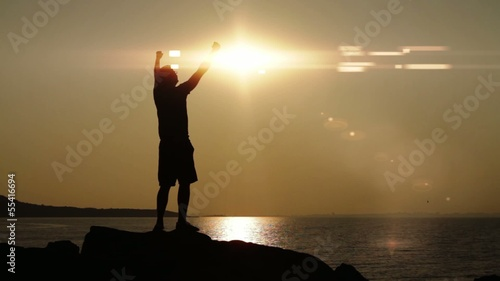 Success Pose Man Ocean Sun Flare Mountain Sea