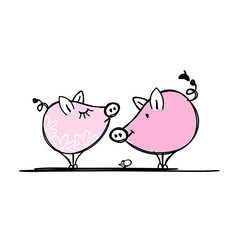 Couple of funny pigs for your design
