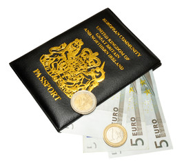 United Kingdom European Passport And Euro Money
