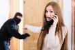 Burglary crime - culprit and victim