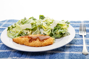 Fried Chicken Breast and Caesar Salad