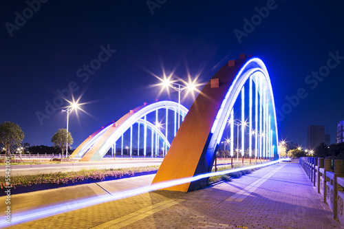 arch bridge with neon lamp