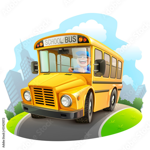 Funny school bus illustration - 55421072