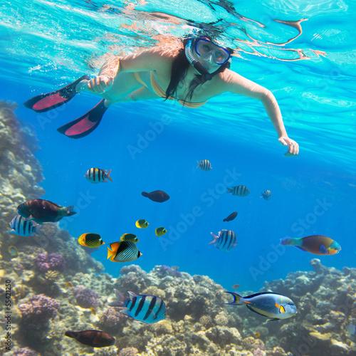 Leinwanddruck Bild Beautiful woman snorkeling in Red Sea of Egypt