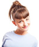 girl with ponytail with a white background poster
