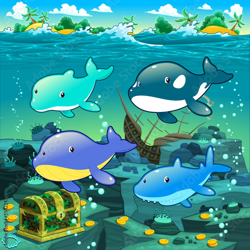 Seascape with treasure, galleon and fish.