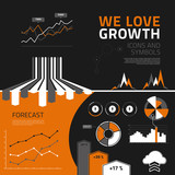 Business growth infographic elements, icons and symbols