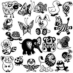 set with black white pictures for children