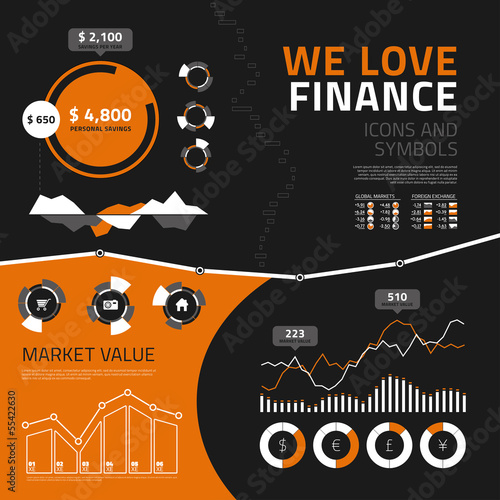 Finance infographic elements, icons and symbols