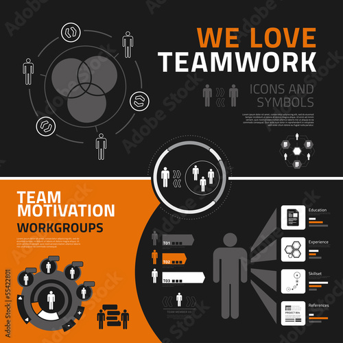 Teamwork infographics elements, icons and symbols