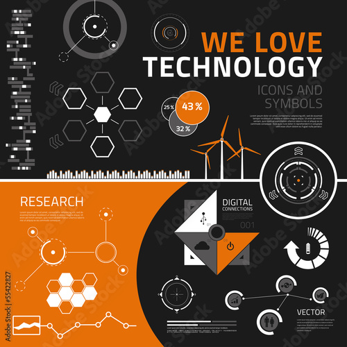 Technology infographics elements, icons and symbols