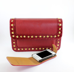 Red purse and mobile phone