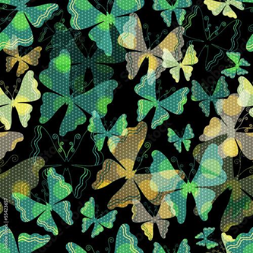 Dark seamless pattern with  transparent butterflies