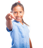 girl with a ponytail pointing forward on a white background poster