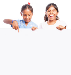 girls behind a banner on a white background