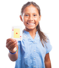 girl holding a poker card  on a white background