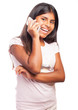 girl calling with a smartphone on a white background