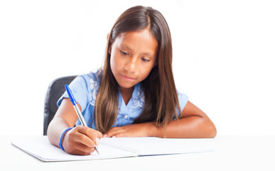 girl doing homeworks on a white background