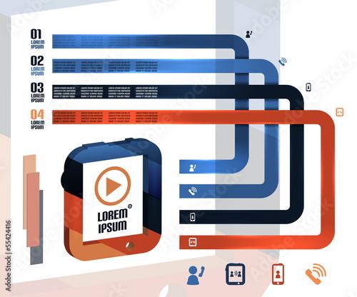 Modern 3d tablet vector infographics