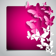 Greeting card with paper white butterfly - vector
