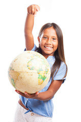 girl holding a world globe on a white background