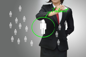 Business woman selected person talent