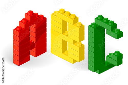 Construction block vector ABC. Letter Z.