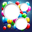 Birthday background with flying balloons and copyspace