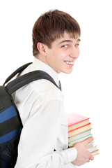 Student with Knapsack Holding the Books