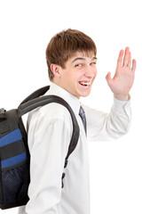 Student with Knapsack wave goodbye