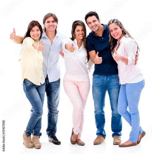 Happy group with thumbs up