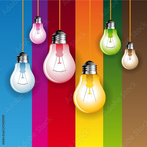 Color light bubbles with colored background - vector
