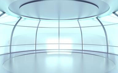futuristic hall with glass walls