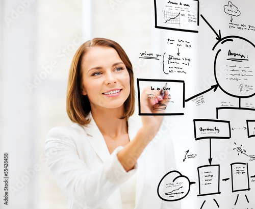 businesswoman drawing on virtual screen