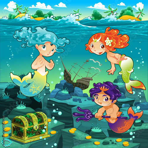 Papiers peints Mermaid Seascape with mermaids and triton.