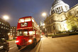 London Routemaster Bus and St Paul's Cathedral at night