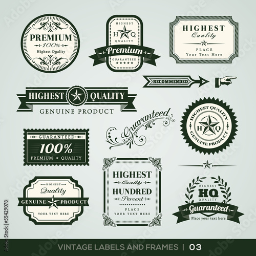 Vintage Premium Quality and Guarantee Labels and Frames