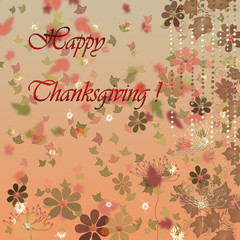 Card for happy thanksgiving day with leaves and flowers