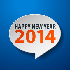 Happy New Year 2014 3d Speech Bubble on Blue background