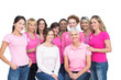 Cheerful pretty women posing and wearing pink for breast cancer