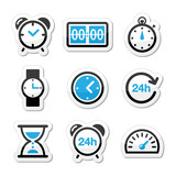 Time, clock vector icons set